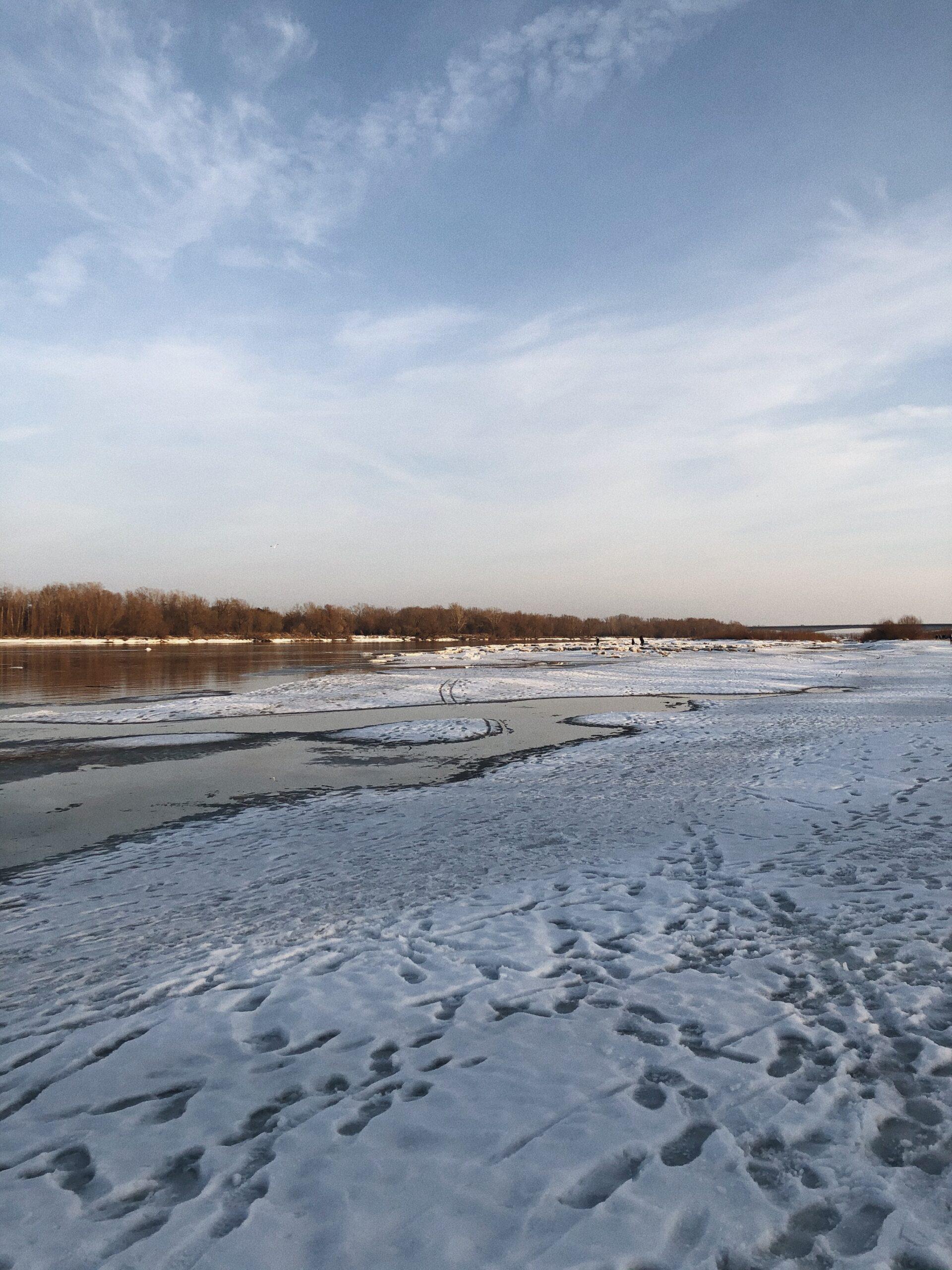 Wisła zimą dziki brzeg